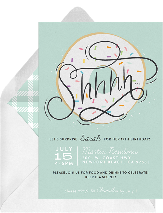 Donut Secret Surprise Party Invitations from Greenvelope