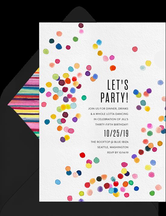 Confetti Burst Surprise Party Invitations from Greenvelope