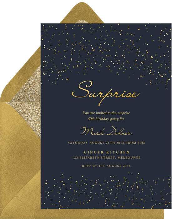 Starry Surprise Party Invitations from Greenvelope
