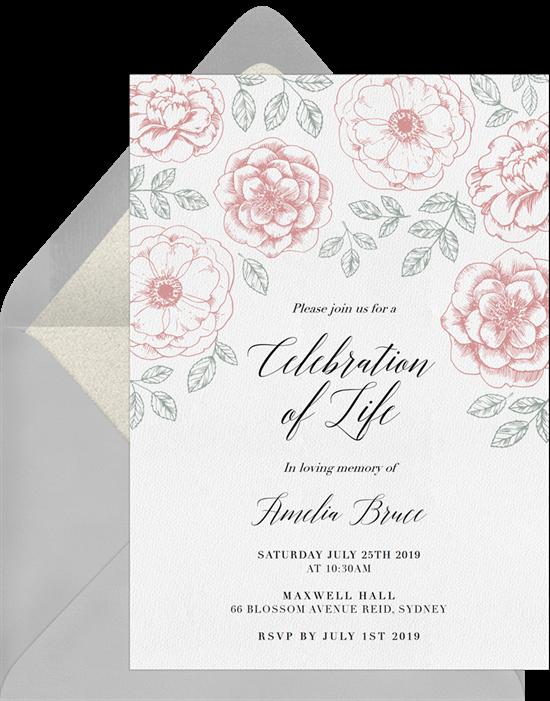 Line Drawn Florals invitation