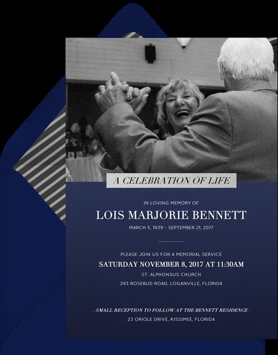 Lovely Label Celebration of Life Invitations