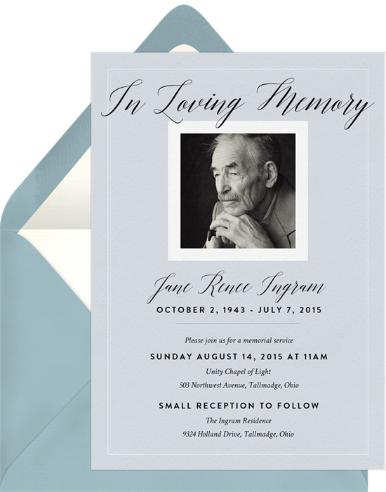 """gray invitation with """"in loving memory"""""""
