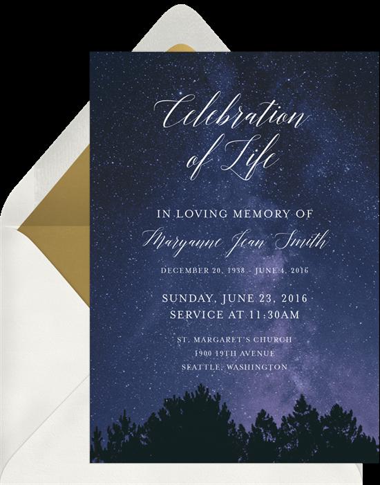 Dusky Skies Celebration of Life Invitations