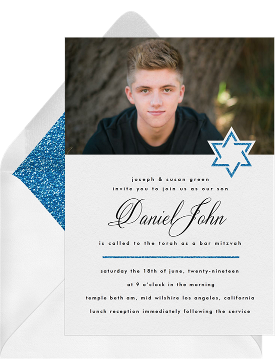 The Textured Star Bar Mitzvah Invitations from Greenvelope