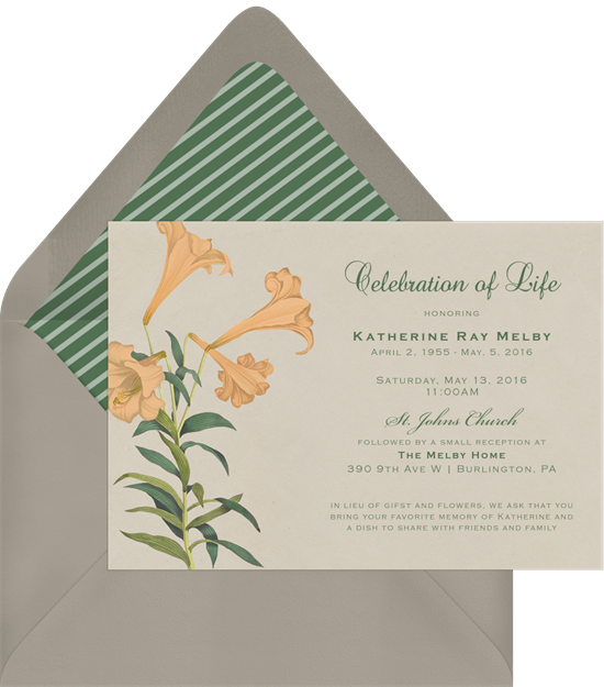 Celebration of Life Invitations: card with floral design