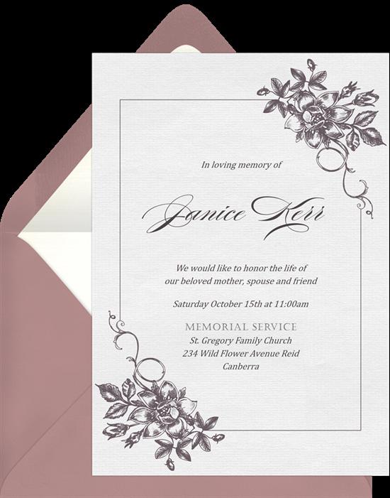 Elegant Floral Corners Celebration of Life Invitation