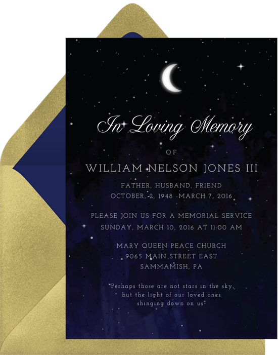 Celebration of Life Invitations: starry night invitation