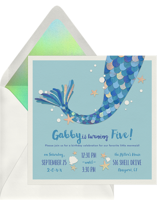 Mermaid Magic kids birthday party invitations