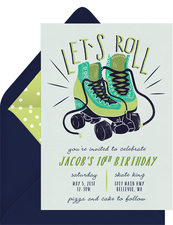 Let's Roll kids birthday invitation