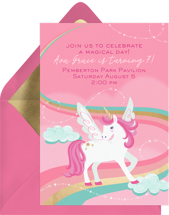 Unicorn Magic party invite