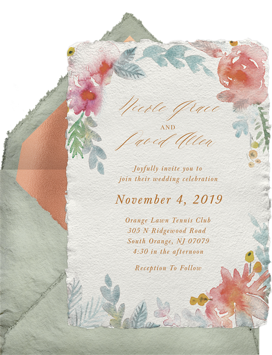Watercolor Floral Romance wedding invitations by Greenvelope
