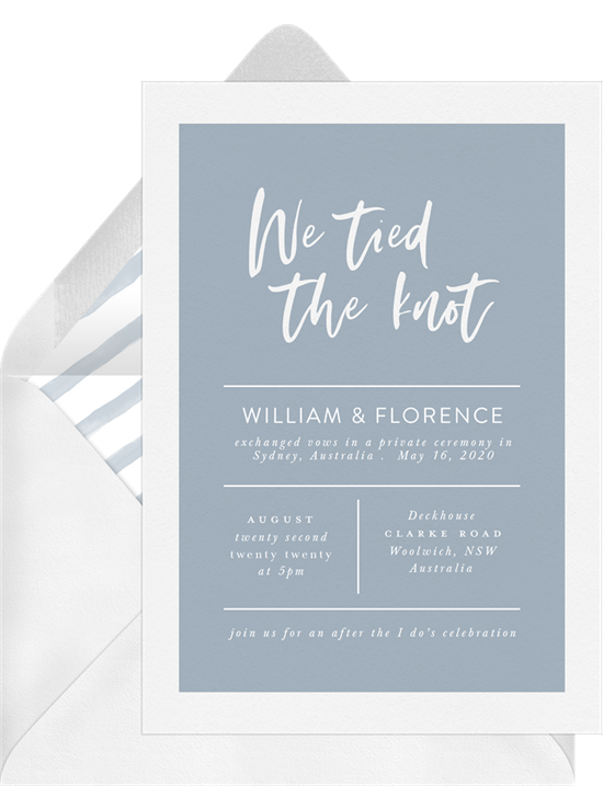 We Tied the Knot simple wedding invitations from Greenvelope