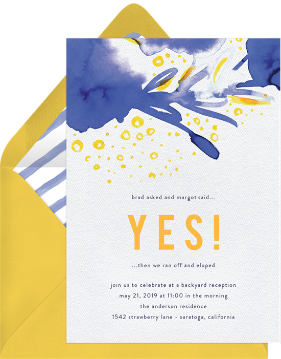 Free-Spirited Watercolors wedding invitation