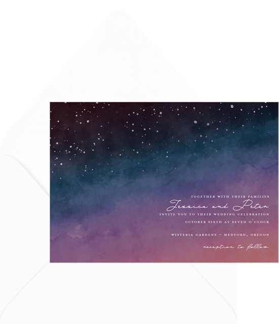 Night Sky watercolor wedding invitation