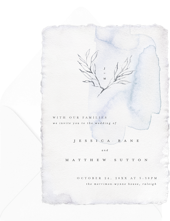 Romantic Elegance watercolor wedding invitation