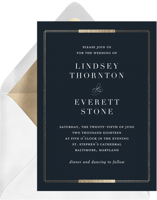 Simple Foil Frame wedding invitations from Greenvelope