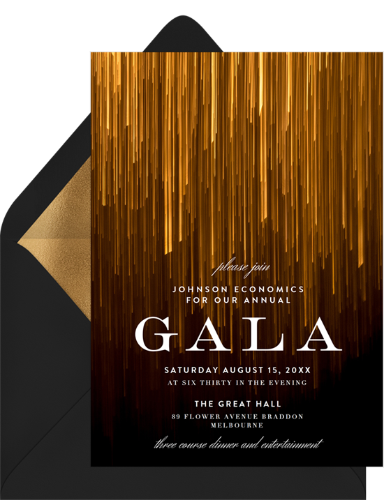 The Shimmering Lines Gala Invitation from Greenvelope