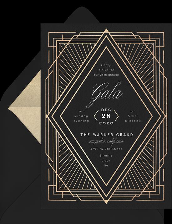 The Art Deco Diamond Gala Invitation from Greenvelope