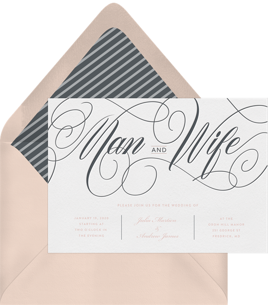 Man and Wife simple wedding invitations from Greenvelope