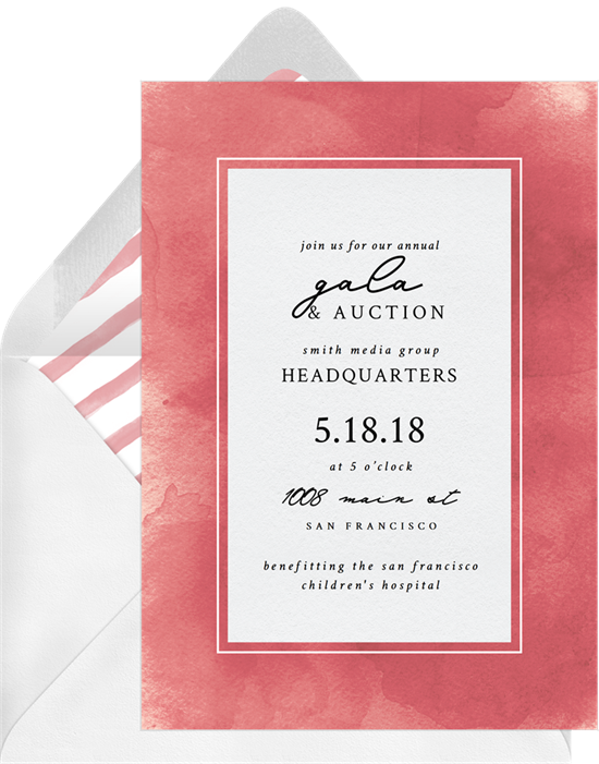 The Simple Watercolor Wash Gala Invitation from Greenvelope