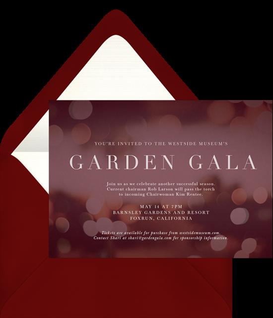 The Elegant Bokeh Gala Invitation from Greenvelope
