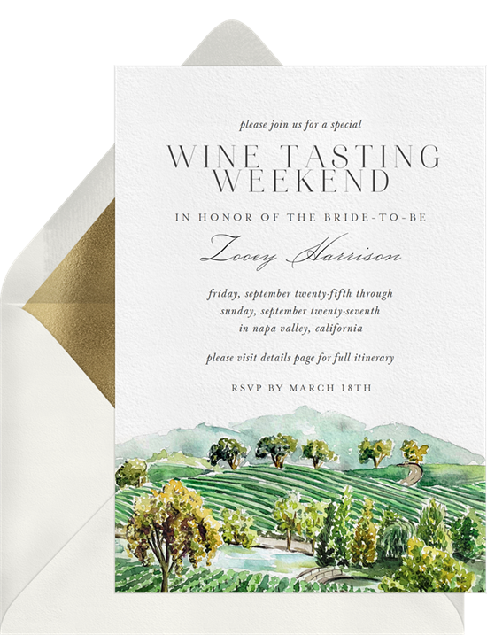 Wine Country bachelorette party invitations from Greenvelope