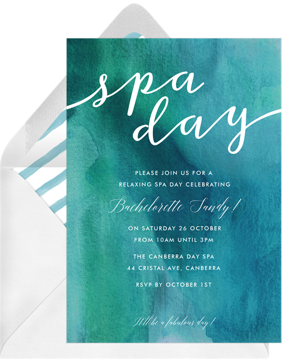 Spa Day bachelorette party invitations from Greenvelope