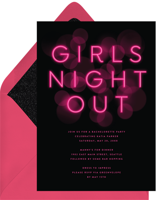 Girls Night Out bachelorette party invitations from Greenvelope