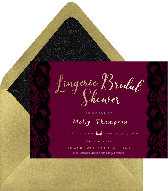 Black Lace bachelorette party invitations from Greenvelope