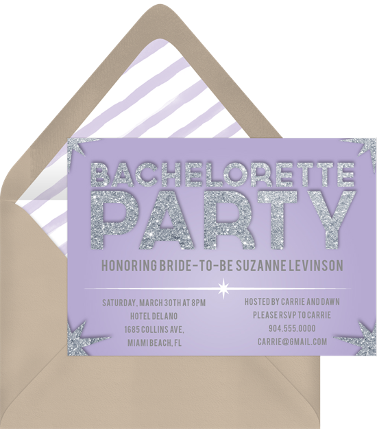 Name in Lights bachelorette party invitations from Greenvelope