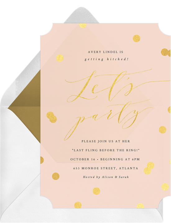 Posh Confetti bachelorette party invitations from Greenvelope
