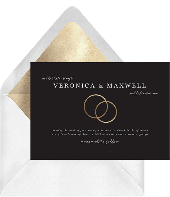 With These Rings simple wedding invitation from Greenvelope