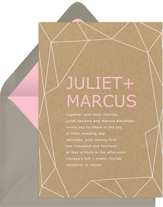 Krafted Geometry simple wedding invitations from Greenvelope