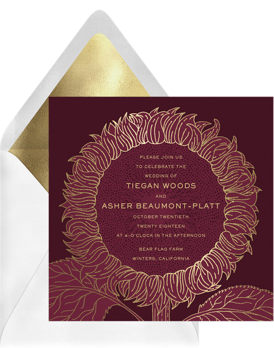 Foil Stamped Sunflower wedding invitations from Greenvelope