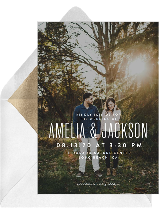 Full Photo Nuptials simple wedding invitations from Greenvelope