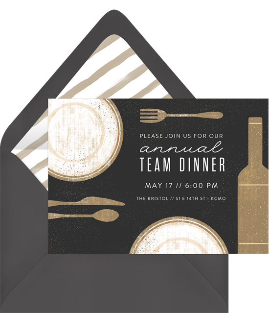 event invitation: annual team dinner
