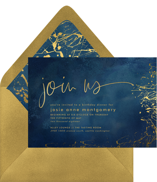 Painted Gold event invitation