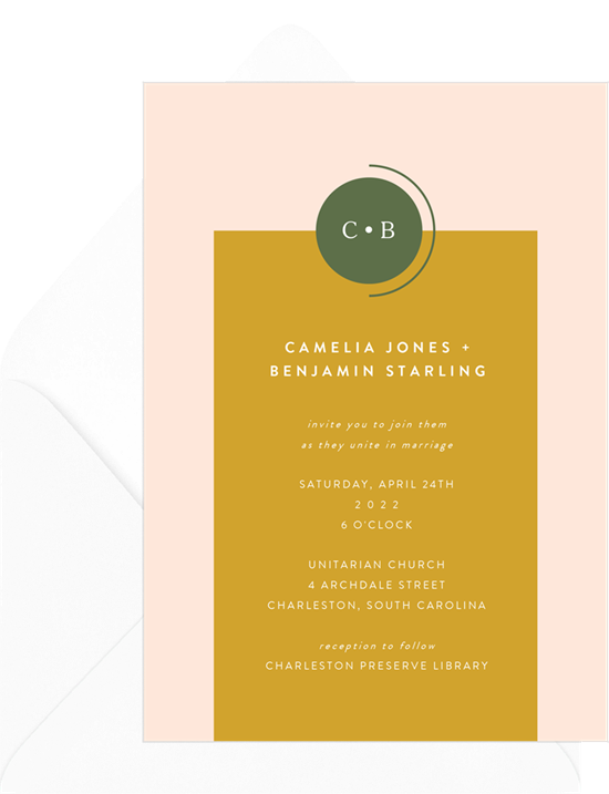 Bauhaus Monogram simple wedding invitations from Greenvelope
