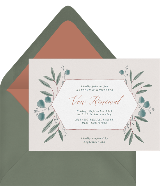 Rustic Eucalyptus vow renewal invitations from Greenvelope