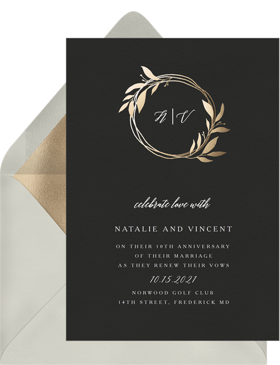 Wreath Monogram vow renewal invitations from Greenvelope