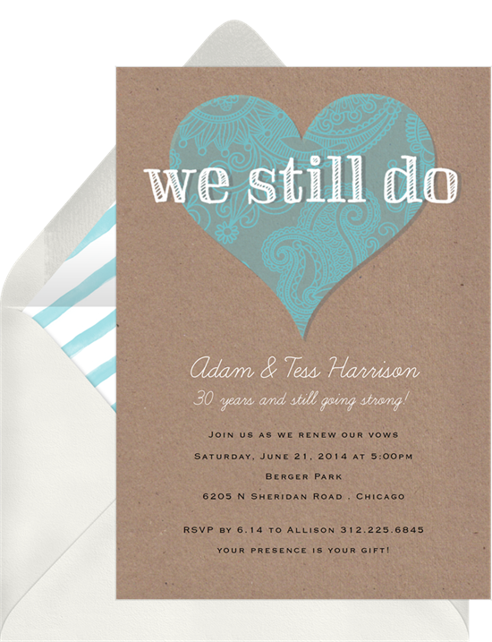 We Still Do Heart vow renewal invitations from Greenvelope