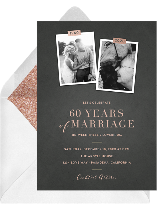 Scrapbook vow renewal invitations from Greenvelope