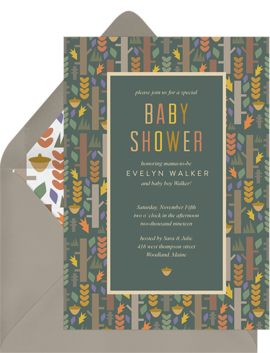 Woodland Baby Shower invitations from Greenvelope