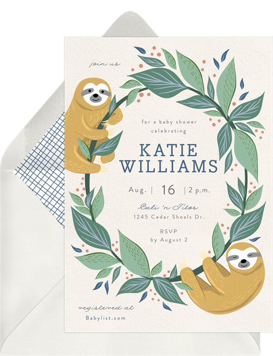 Baby Sloths woodland baby shower invitations from Greenvelope