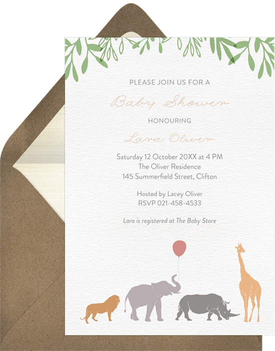 Safari Mama woodland baby shower invitations from Greenvelope