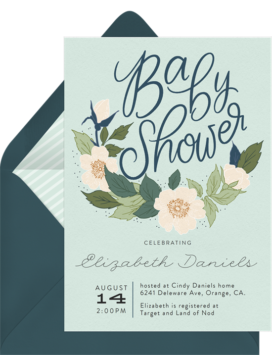 Anemone Wreath woodland baby shower invitations from Greenvelope