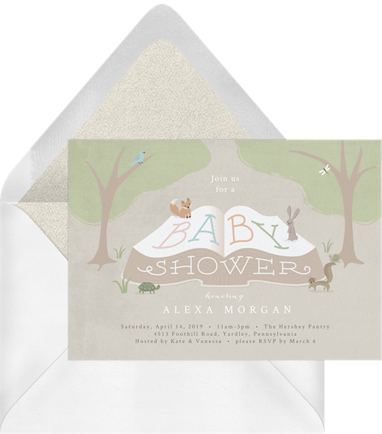 Woodland Storytime baby shower invitations from Greenvelope