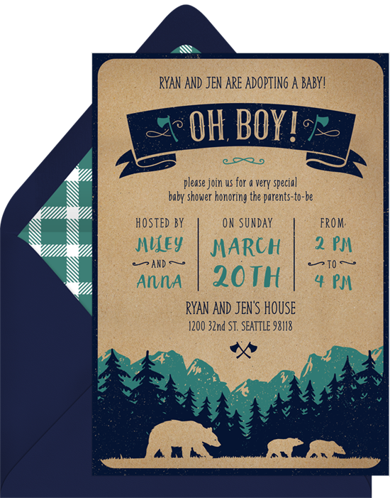 Lumberjack Cubs woodland baby shower invitations