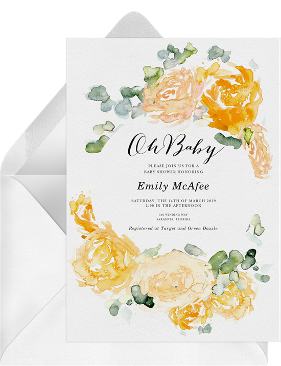 Watercolor Peonies woodland baby shower invitations from Greenvelope