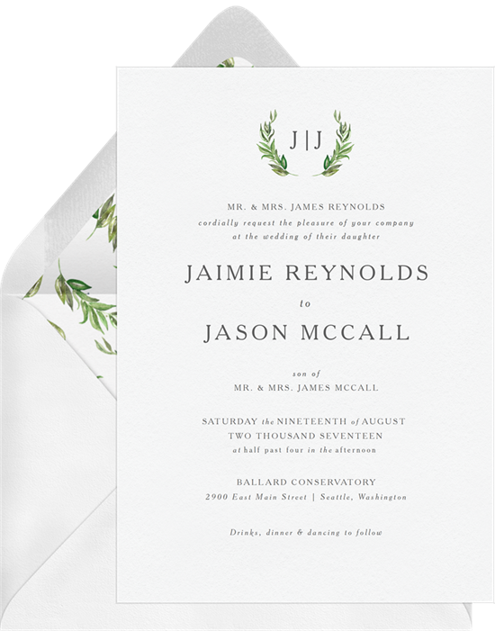 Simple Greenery wedding invitations from Greenvelope